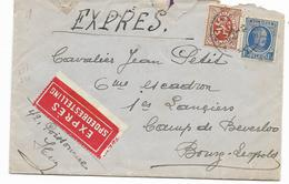 BELGIQUE+ Lettre EXPRES SPOEDBESTELLING - Pour 6° ESCADRON  BOURG LEOPOLD Cachet Convoyeur Au Dos  Voir 2 Scans - Lettres & Documents