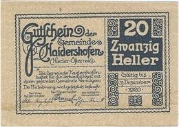 Austria (NOTGELD) 20 Heller 31-12-1920 Haidershofen - Austria