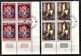 MONACO 1977 - SERIE 2 BLOCS DE 4 TP  N° 1115 Et 1116  - OBLITERES / COINS DE FEUILLES / DATES - Monaco