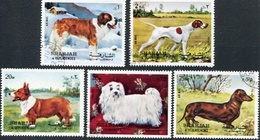 DOGS, PERROS, CHIENS. SHARJAH 1972 MICHEL 1024 / 1028 COMPLETE SERIE OBLITERES - LILHU - Sharjah