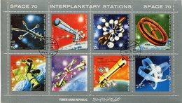 SPACE 70, INTERPLANETARY STATIONS. YEMEN 1970 MICHEL 1174 / 1180 COMPLETE SERIE OBLITERES - LILHU - Yemen