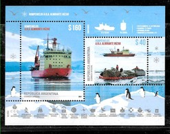 ARGENTINA 2019 ANTARCTIC BRICE-GLACE IRIZAR BATEAUX,FAUNA MANCHOTS UNUSUAL COATING BLOC NEUF - Stamps