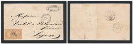 POSTE FRANÇAISE EN TURQUIE (Levant) 1858 2x40c Empire N°YT16 Sur Lettre Sans Texte De SMYRNE GC 5098 Pour Lyon - Postmark Collection (Covers)