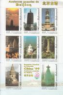 1999 Cambodia Beijing CHINA Pagodas  Miniature Sheet Of 9  MNH - Cambodia