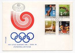 YUGOSLAVIA, FDC, 21.03.1988, COMMEMORATIVE ISSUE:  OLYMPIC GAMES - SEUL 88 - FDC