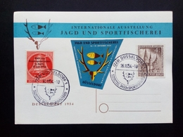 BERLIN MI-NR. 106 + 118 O AUF SONDERKARTE JAGD- UND SPORTFISCHEREI AUSSTELLUNG DÜSSELDORF 1954 - [5] Berlino