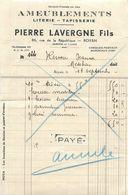 Facture Ameublement Literie Tapisserie Pierre LAVERGNE - ROYAN 86 Rue De La République - Old Professions