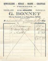 Facture Quincaillerie Primagaz A LA MENAGERE - G. BONNET 102 Rue Gambetta ROYAN 17, 1938 - Chemist's (drugstore) & Perfumery