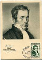 FRANCE CARTE MAXIMUM DU N°936 LAENNEC OBLITERATION PREMIER JOUR 7 NOV. 1952 QUIMPER - 1950-59