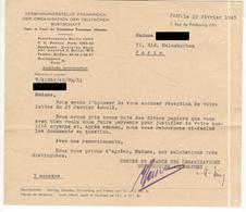 Centre En France Des Organisations Economiques Allemandes 1943 - Reçu Pour Documents Justifiant De Qualité Aryenne - Documenti Storici