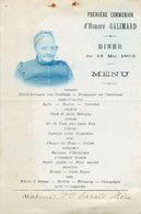Menu 1ere Communion Honoré GALLIMARD 1902, Photo Mme Veuve SAVARD Mère, VINCENNES 1902 - Menus