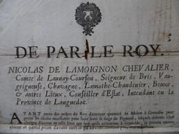 PLACARD SIEGE DE PIGNEROL 1693 NICOLAS DE LAMOIGNON ENVOIE DE MULETS A GRENOBLE - Historical Documents