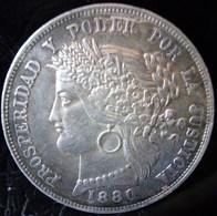 MONNAIE ARGENT PÉROU 5 Pesetas 1880 Lima  REPUBLICA PERUANA LIMA.9 DECIMOS FINO.B.F.  B. * CINCO DECIMOS *  SILVER COIN - Peru