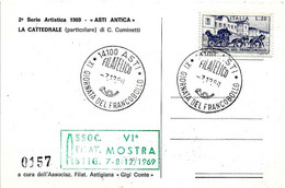 ITALIA - 1969 ASTI 11^ Giornata Del Francobollo - VI Mostra Fil. Ann. Filatelico + Timbro Verde Su Cartolina Speciale - Giornata Del Francobollo
