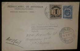 O) 1926 COLOMBIA, COAT OF ARMS SURCHARGE 1c, COAT OF ARMS 3c, FERROCARRIL DE ANTIOQUIA-DIRECCION TELEGRAFICA CARRIL, TO - Colombia