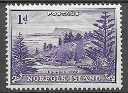 1947 1d View Of Ball Bay, Mint Hinged - Norfolk Island