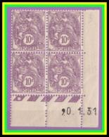 FR N° 233** - Blanc 10c Violet - Bloc Coin Daté 20.1.31 - Luxe - Cote 45 € - ....-1929