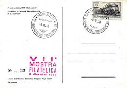ITALIA - 1970 ASTI 12^ Giornata Del Francobollo - VII Mostra Filatelica Annullo Fdc + Timbro Rosso Su Cartolina Speciale - Giornata Del Francobollo