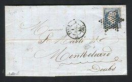 Belle Lettre De Paris Pour Montbéliard ( 1855 ) Avec Un N° 14Af Bleu Laiteux Foncé - 1853-1860 Napoleon III