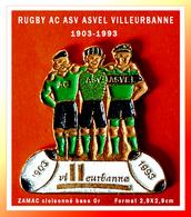 SUPER PIN'S RUGBY : Les 90 Ans De L'AC, ASV, ASVEL Club De VILLEURBANNE (69) ZAMAC Cloisonné Base Or, 2,9X2,9cm - Rugby
