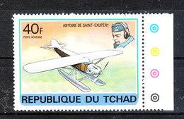 Ciad  Chad  - 1978. Storia Dell' Aviazione. Saint Exuperì E Suo Aereo.Aviation History. Saint Exuperì And His Plane. MNH - Aerei