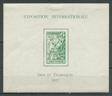 Martinique Bloc-feuillet YT N°1 Exposition Internationale 1937 Arts Et Techniques Neuf/charnière * 2ND CHOIX - Martinique (1886-1947)