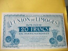 A935 - 87 SOCIETE COOPERATIVE L'UNION DE LIMOGES 20 FRANCS - Buoni & Necessità