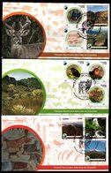 COLOMBIA- KOLUMBIEN- 2019 FDC/SPD. SET X 3 -COLOMBIAN NATIONAL  NATURAL PARKS - BEAR,BIRDS, PUMA, ARCHAEOLOGY - Colombia