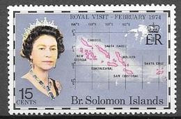 1974 15 Cents Royal Visit, Mint Light Hinged - Solomon Islands (1978-...)