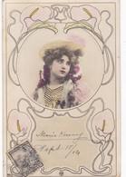 CPA CUSTOM FANCY FEMME COLORISEE AVEC FLEURES CIRCULEE 1904 A OLIVOS, L'ARGENTINE - BLEUP - Zoll