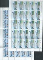 Nauru 1980 Planes Air Nauru Set 4 In Complete Sheets Of 25 With Imprints & Plate Numbers MNH - Nauru