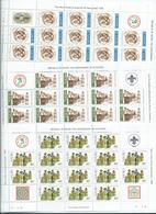 Nauru 1982 Boy Scout Anniversary Set 6 In Complete Sheets Of 16 With Labels Imprints & Plate Numbers MNH - Nauru