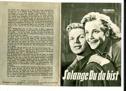 """MARIA SCHELL """"Der Träumende Mund"""" + """"Solang Du Da Bist"""" PROGRESS Programmhefte  35+45/1954 - Film & TV"""