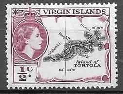 1956 1/2 Cent Queen Elizabeth, Mint Light Hinged - British Virgin Islands