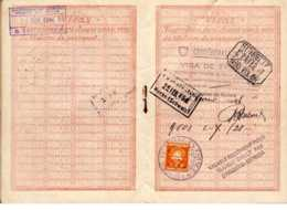 PASSEPORT FRANCAIS A L'ETRANGER  Délivré  EVREUX  Tampon   SUISSE  CONFEDERATION  VISA DE TRANSIT 1946 - Fiscaux