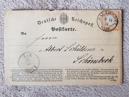 Deutsches Reich Brustschild Postkarte Salzwedel Nach Schönerberk 1872 - Deutschland