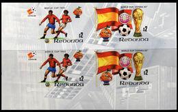 REDONDA 1981 Football Soccer World Cup Spain $2 LOWER CORNERS:2 IMPERF.se-tenant 4-BLOCK - Antillen