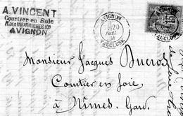 Boo01 Yvert 90 Type Paix  Sur Fragment Lettre VINCENT Courtier En Soie Avignon - Marcophilie (Lettres)