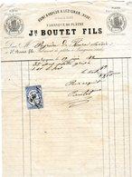 Boo01 Usine A Vapeur Lezignan BOUTET Quittances 10 Centimes 1873 - Autres