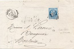 LETTRE DE ROSCOFF AVEC 20 CENT. BORDEAUX NUANCE OUTREMER? - 1870 Emission De Bordeaux