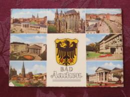 "Germany 1960 Slogan Cancel On Postcard "" Bad Aachen Arms Church "" To England - President Theodor Heuss - Briefe U. Dokumente"