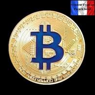 1 Pièce Plaquée OR ( GOLD Plated Coin ) - Bitcoin BTC ( Bleu ) - Coins