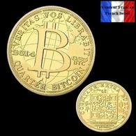 1 Pièce Plaquée OR ( GOLD Plated Coin ) - Quarter Bitcoin BTC - Coins