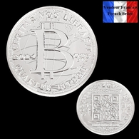 1 Pièce Plaquée ARGENT ( SILVER Plated Coin ) - Quarter Bitcoin BTC - Coins