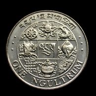 Bhutan 1 Ngultrum (magnetic) 1979. Km49a. UNC Coin. Buddhist Instruments. 27.8mm - Bhutan