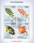Ivory Coast  2014  Fishes  Pissons  Marine Life  Fauna  4v  Cto Used S/S    #  75318 - Fishes