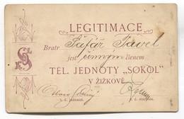 1896. LEGITIMACE / MEMBERSHIP CARD, SOKOL FALCON ŽIŽKOV CZECHIA - Historical Documents