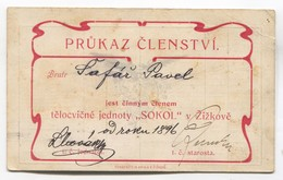 1904. LEGITIMACE / MEMBERSHIP CARD, SOKOL FALCON ŽIŽKOV CZECHIA - Documenti Storici
