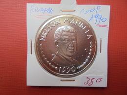 "RWANDA 100 FRANCS 1990 ""NELSON MANDELA"" ARGENT QUALITE FDC ! - Rwanda"