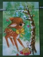 Kov 8-147 - New Year, Bonne Annee, FAWN, FAON, Roe Deer, Femelle Chevrette - Nouvel An